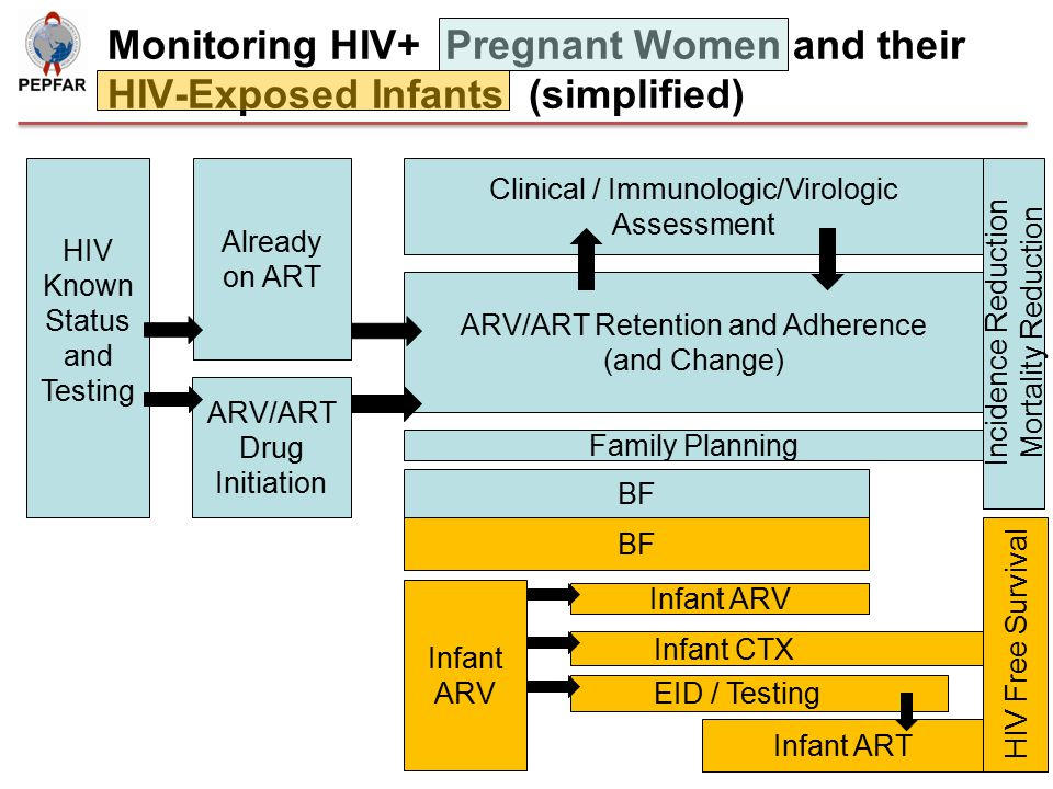 Monitoring HIV+ Pregnant Women and their HIV-Exposed Infants (simplified)