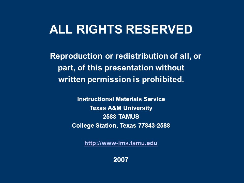 ALL RIGHTS RESERVED Reproduction or redistribution of all, or