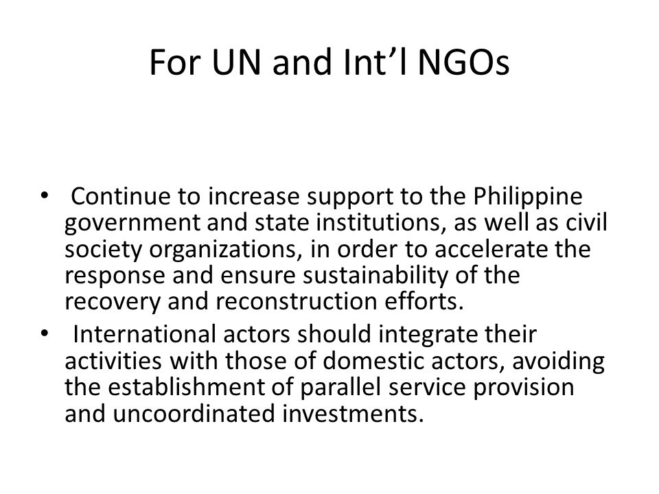 For UN and Int'l NGOs