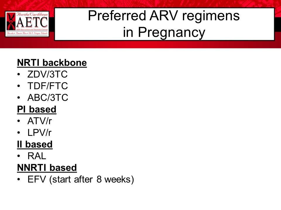 Preferred ARV regimens in Pregnancy