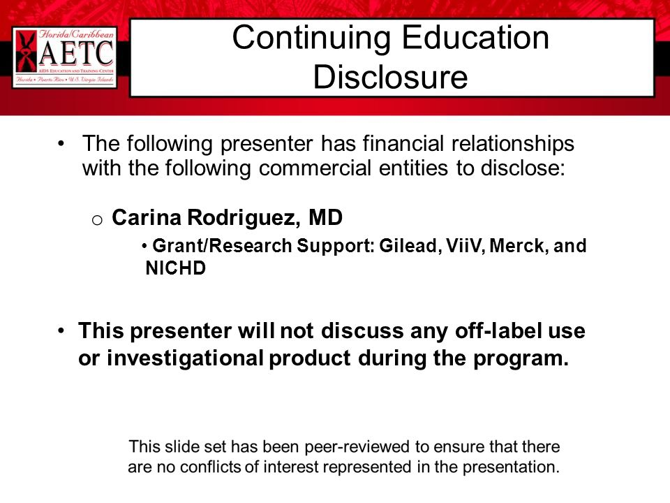Continuing Education Disclosure