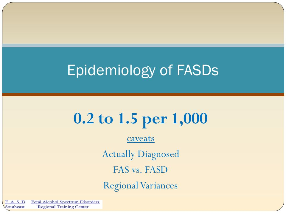 0.2 to 1.5 per 1,000 Epidemiology of FASDs caveats Actually Diagnosed
