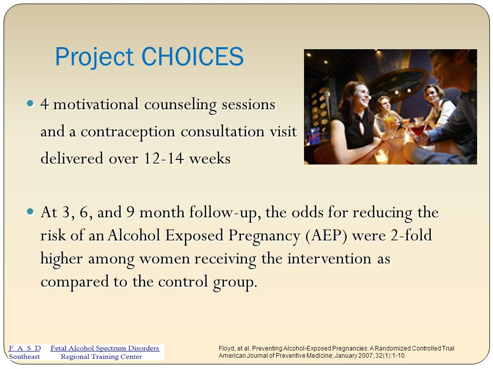 Project CHOICES 4 motivational counseling sessions