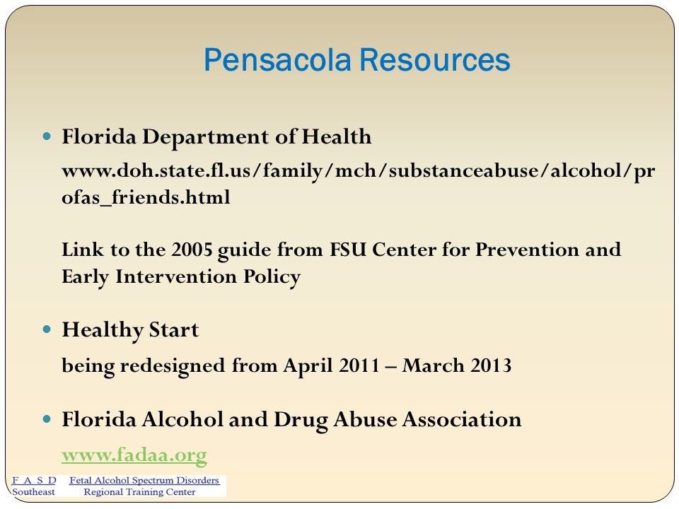 Pensacola Resources Florida Department of Health Healthy Start