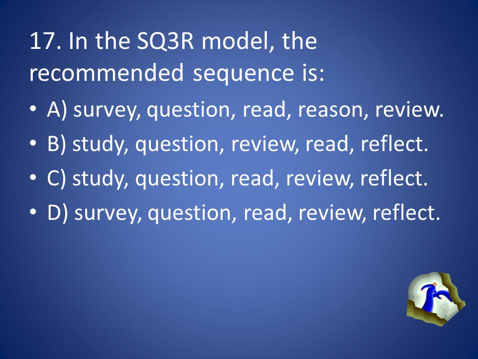 17. In the SQ3R model, the recommended sequence is: