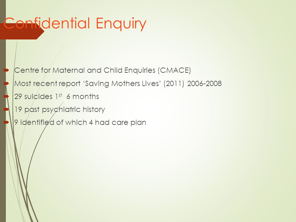 Confidential Enquiry Centre for Maternal and Child Enquiries (CMACE)