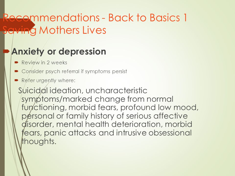 Recommendations - Back to Basics 1 Saving Mothers Lives