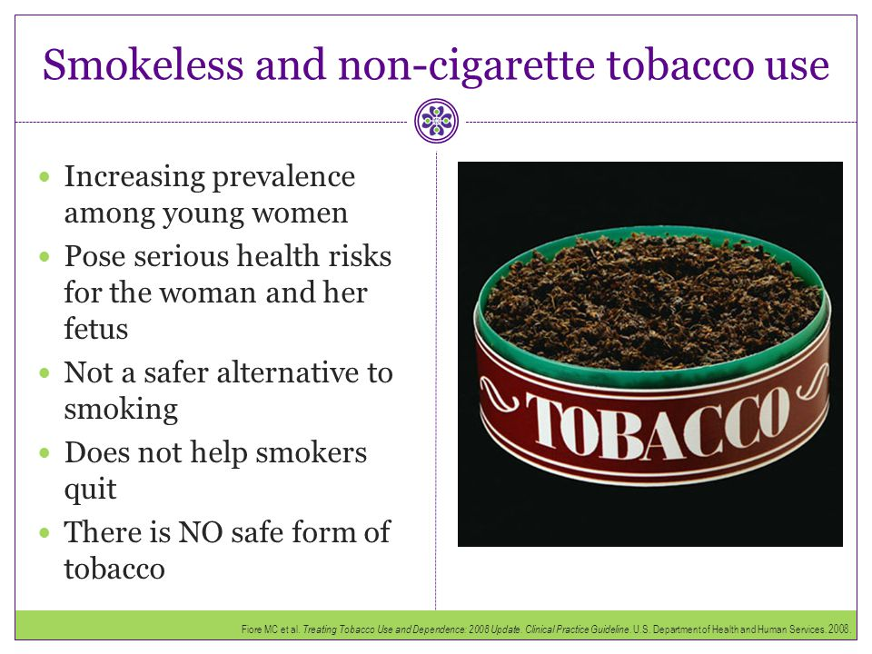 Smokeless and non-cigarette tobacco use