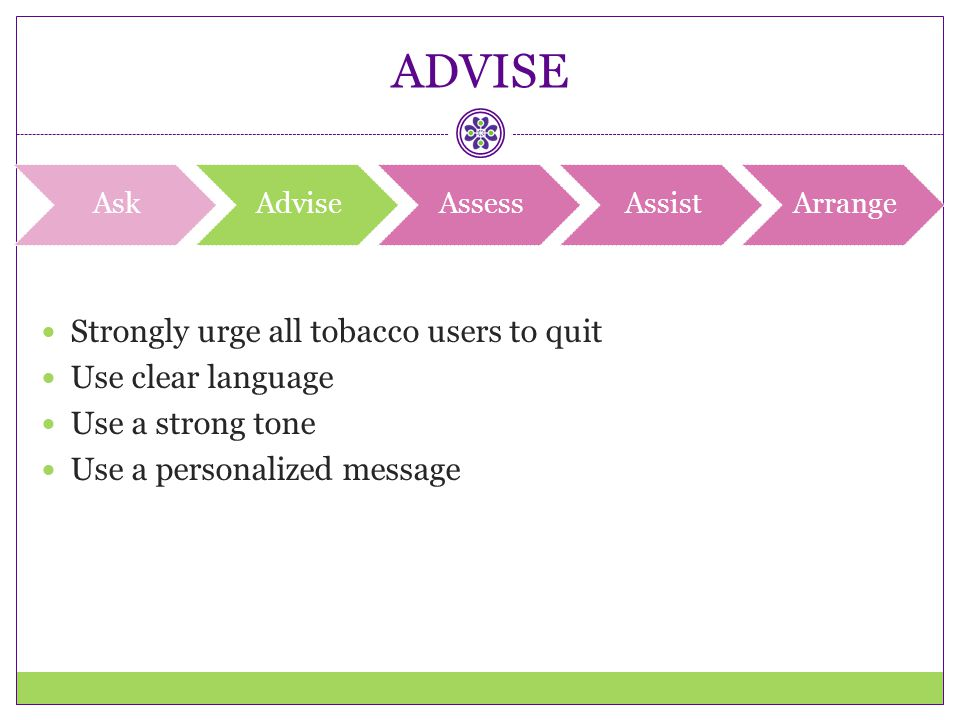 ADVISE Strongly urge all tobacco users to quit Use clear language