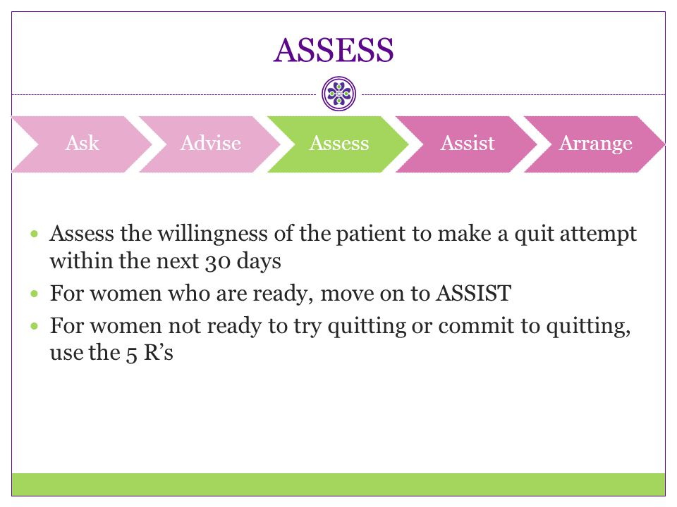 ASSESS Ask. Advise. Assess. Assist. Arrange. Assess the willingness of the patient to make a quit attempt within the next 30 days.