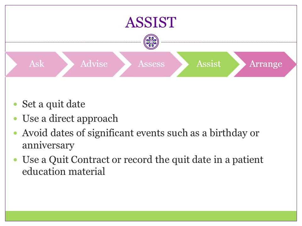 ASSIST Set a quit date Use a direct approach