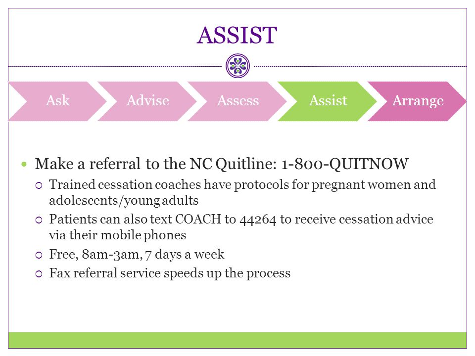 ASSIST Make a referral to the NC Quitline: 1-800-QUITNOW