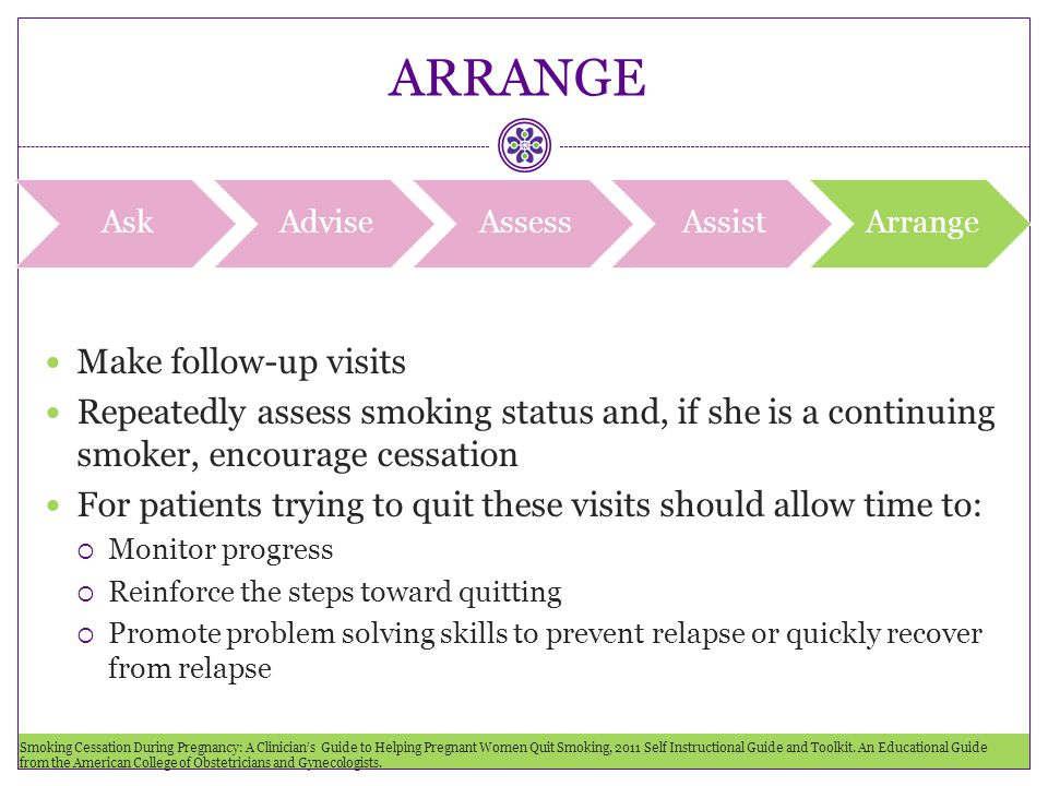 ARRANGE Make follow-up visits