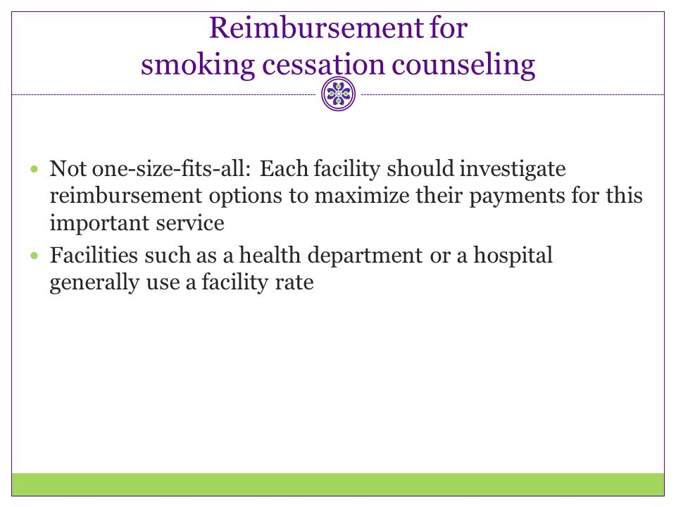 Reimbursement for smoking cessation counseling