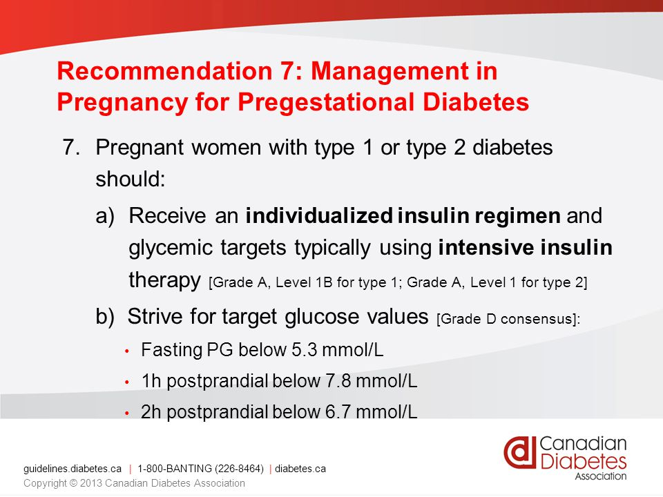 Recommendation 7: Management in Pregnancy for Pregestational Diabetes