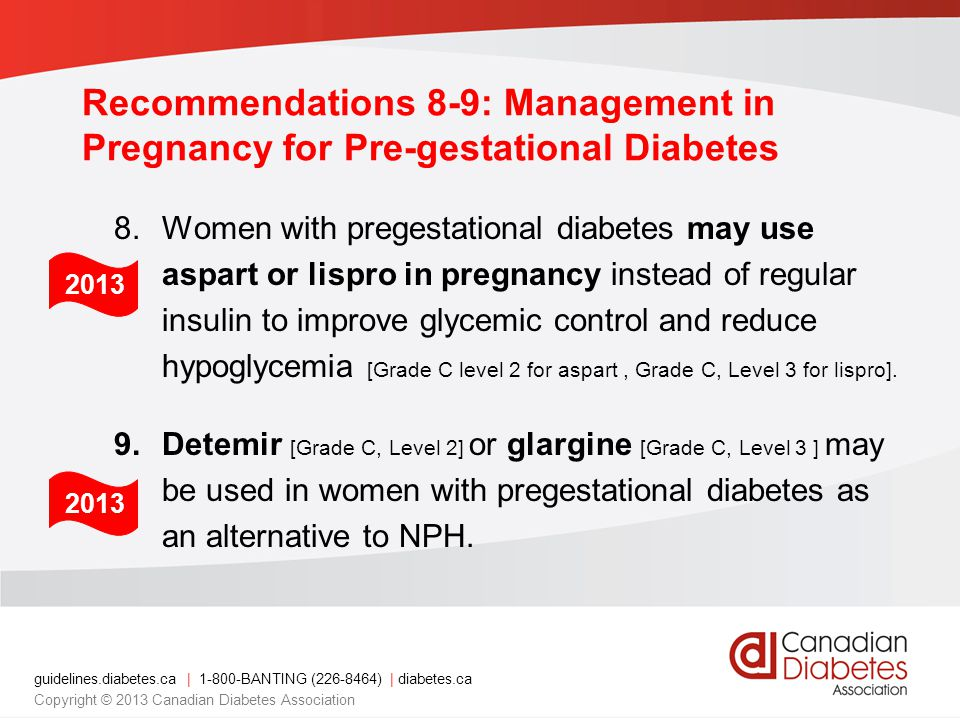 Recommendations 8-9: Management in Pregnancy for Pre-gestational Diabetes