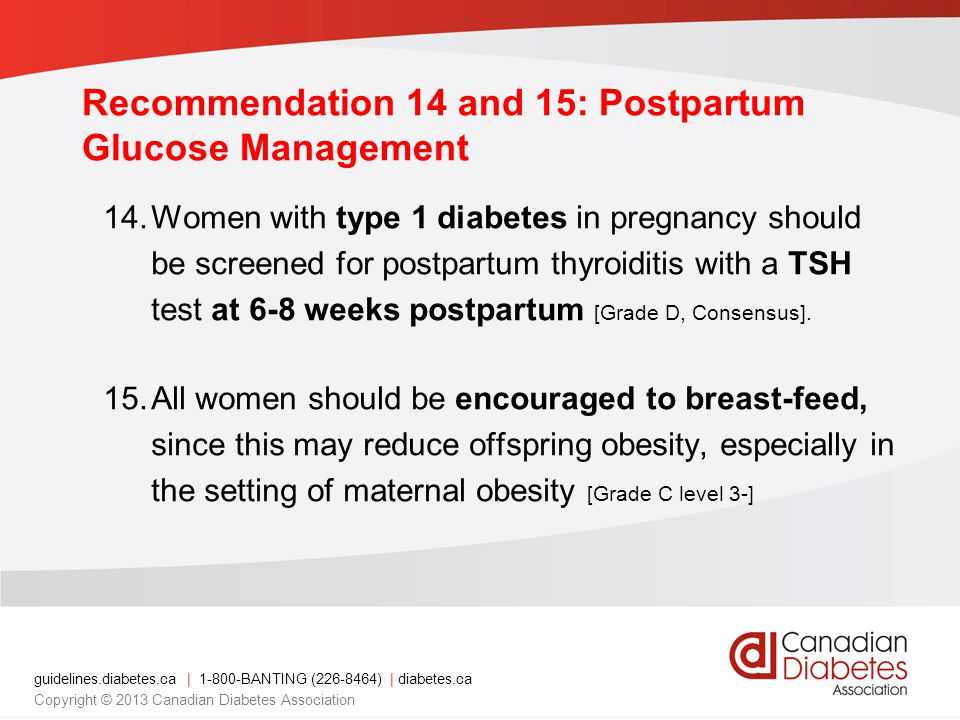 Recommendation 14 and 15: Postpartum Glucose Management