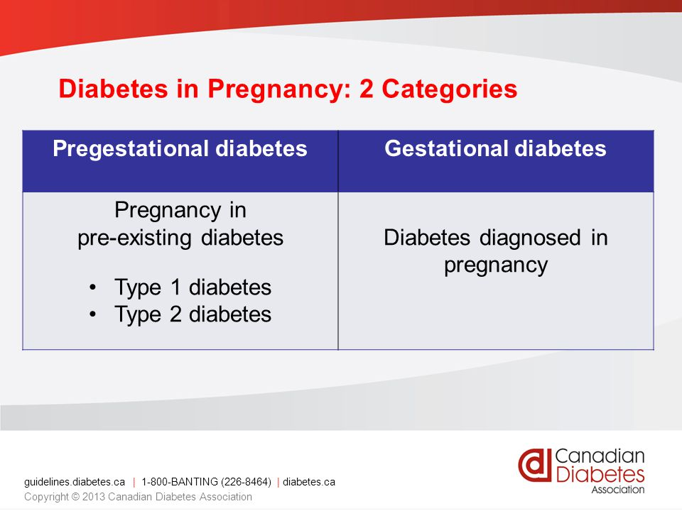 Diabetes in Pregnancy: 2 Categories