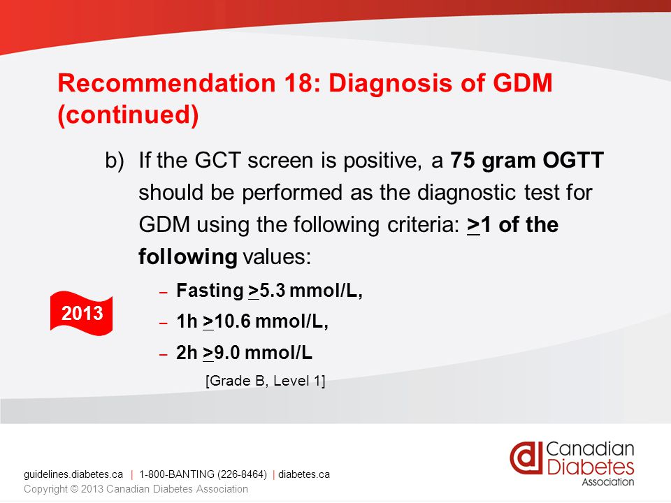 Recommendation 18: Diagnosis of GDM (continued)