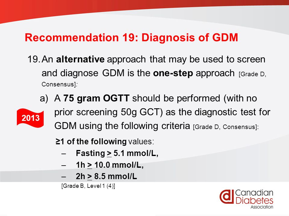 Recommendation 19: Diagnosis of GDM