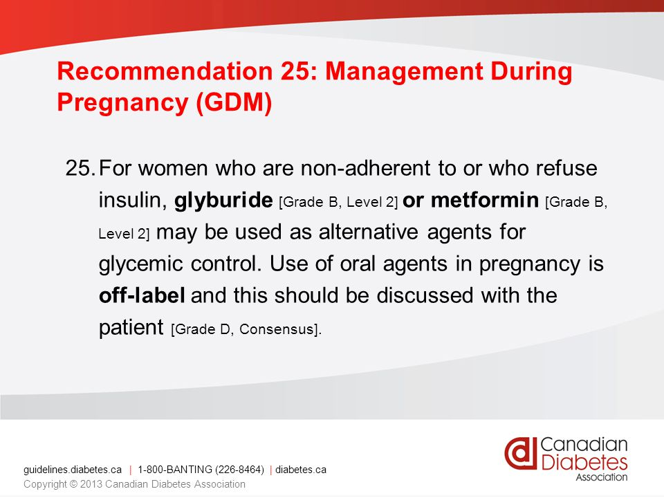 Recommendation 25: Management During Pregnancy (GDM)