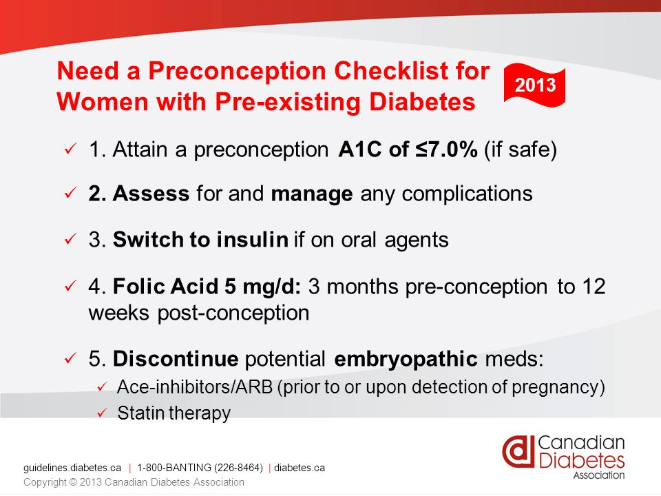 Need a Preconception Checklist for Women with Pre-existing Diabetes
