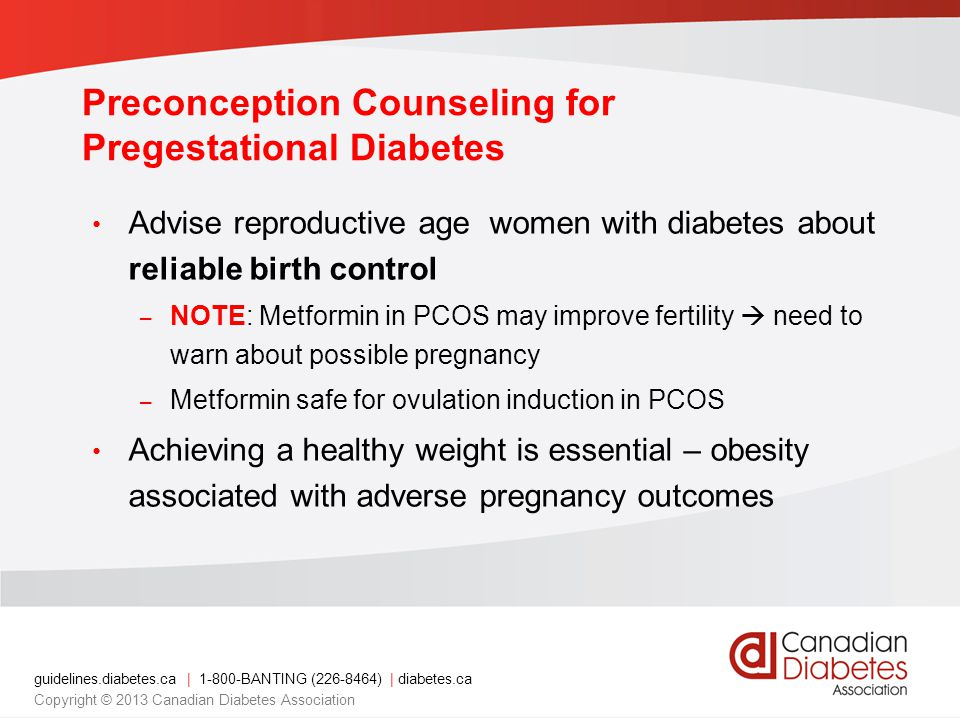 Preconception Counseling for Pregestational Diabetes