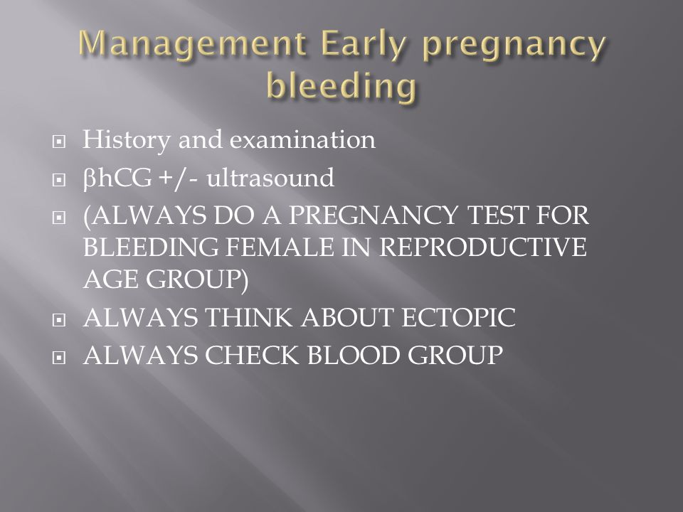 Management Early pregnancy bleeding