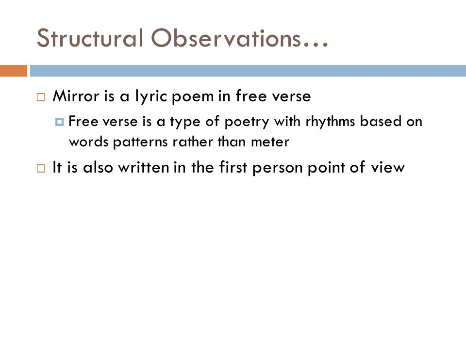 Structural Observations…