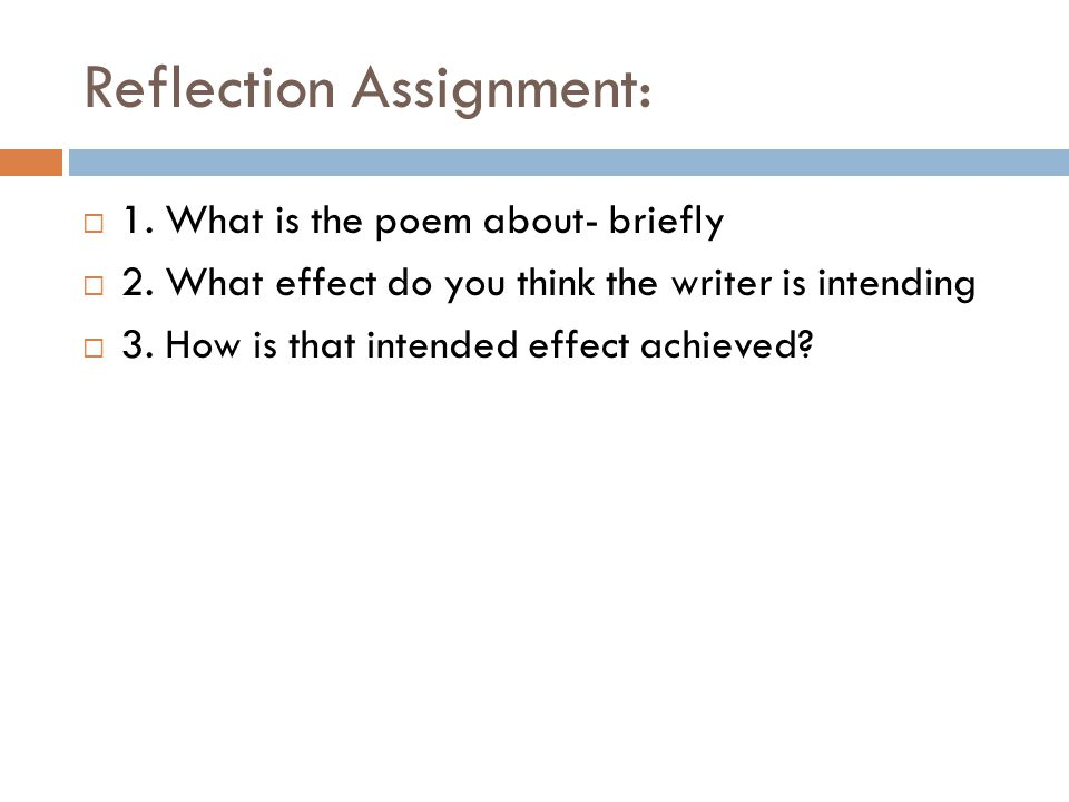 Reflection Assignment: