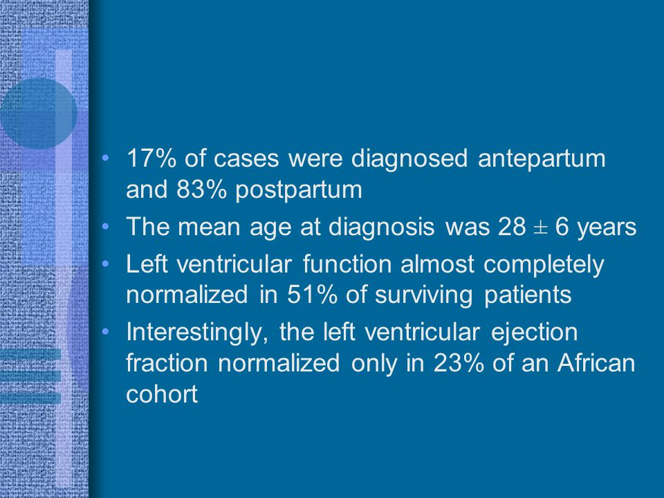 17% of cases were diagnosed antepartum and 83% postpartum