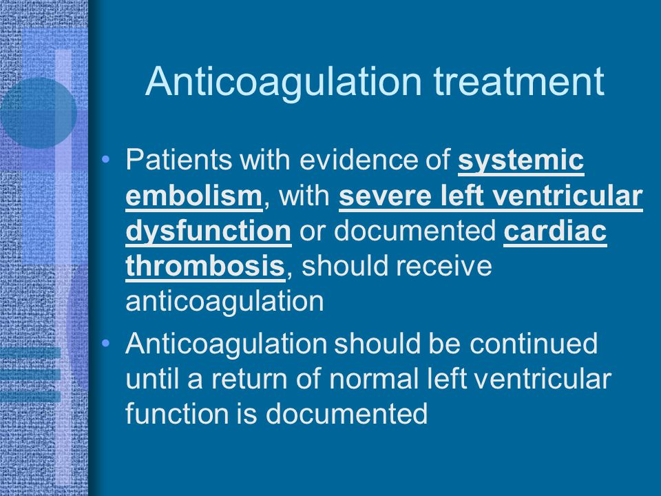 Anticoagulation treatment