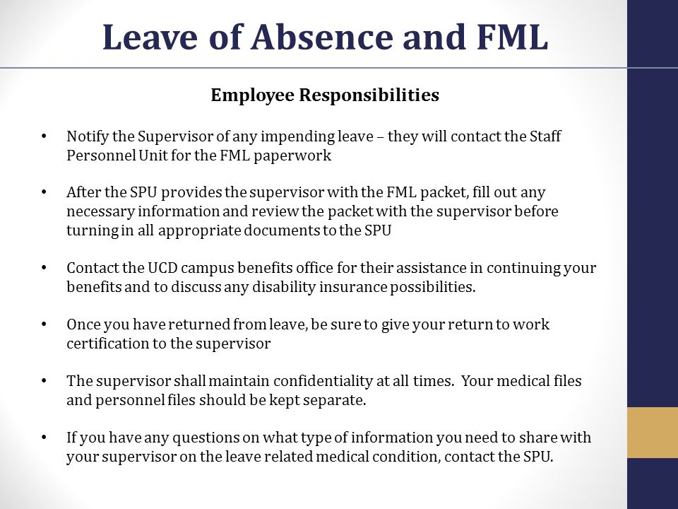 Leave of Absence and FML Employee Responsibilities