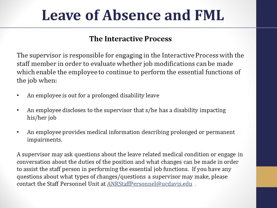 Leave of Absence and FML The Interactive Process