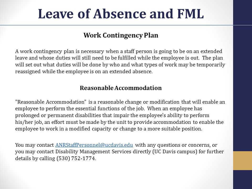 Leave of Absence and FML Reasonable Accommodation