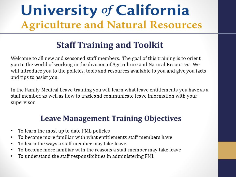 Staff Training and Toolkit Leave Management Training Objectives