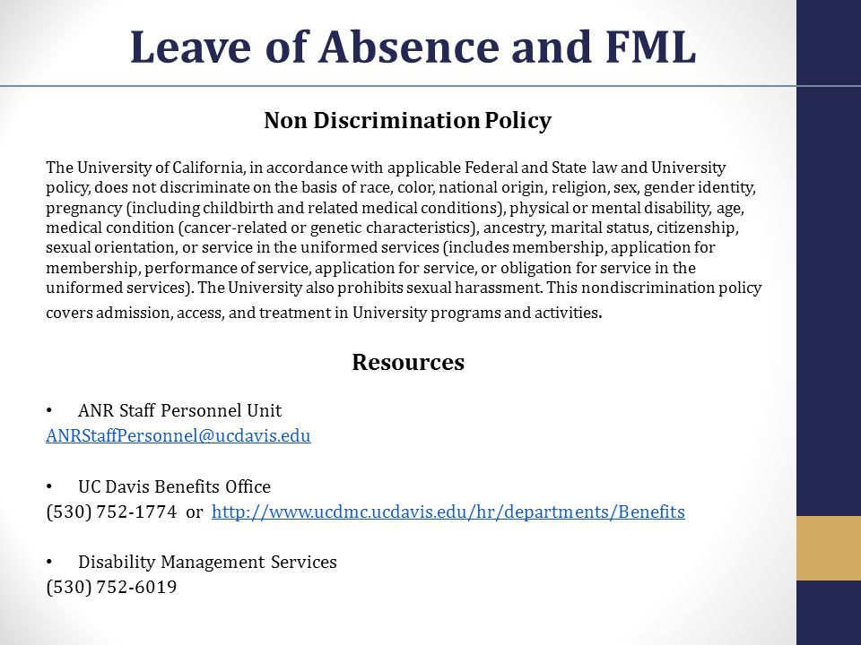 Leave of Absence and FML Non Discrimination Policy