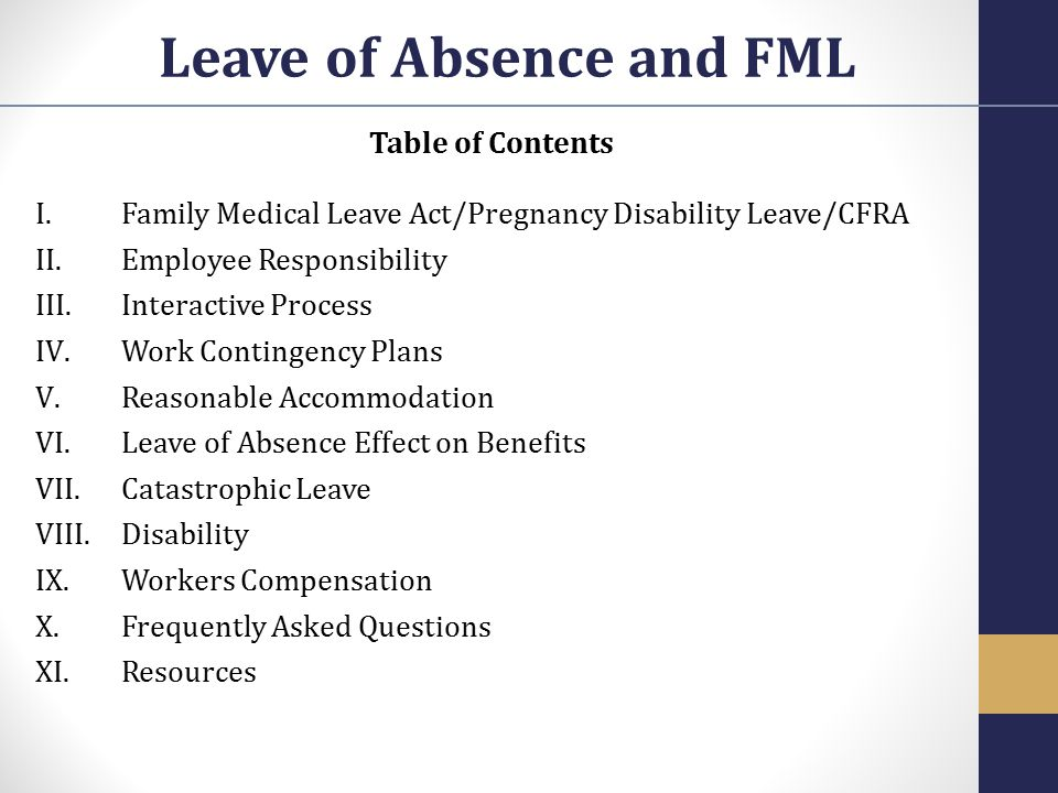 Leave of Absence and FML