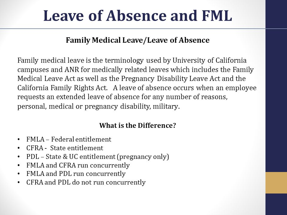 Leave of Absence and FML Family Medical Leave/Leave of Absence