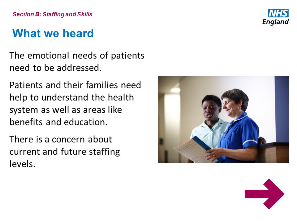 What we heard The emotional needs of patients need to be addressed.