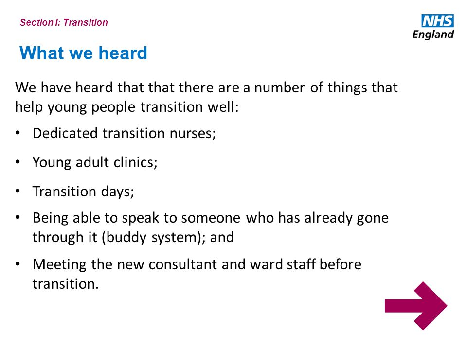 Section I: Transition What we heard. We have heard that that there are a number of things that help young people transition well:
