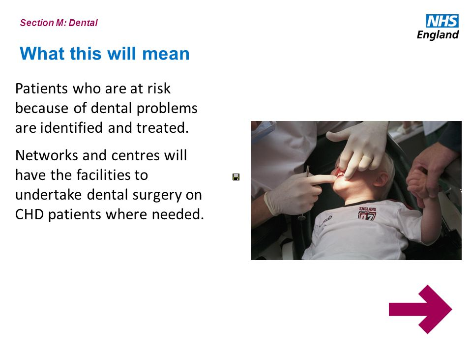 Section M: Dental What this will mean. Patients who are at risk because of dental problems are identified and treated.