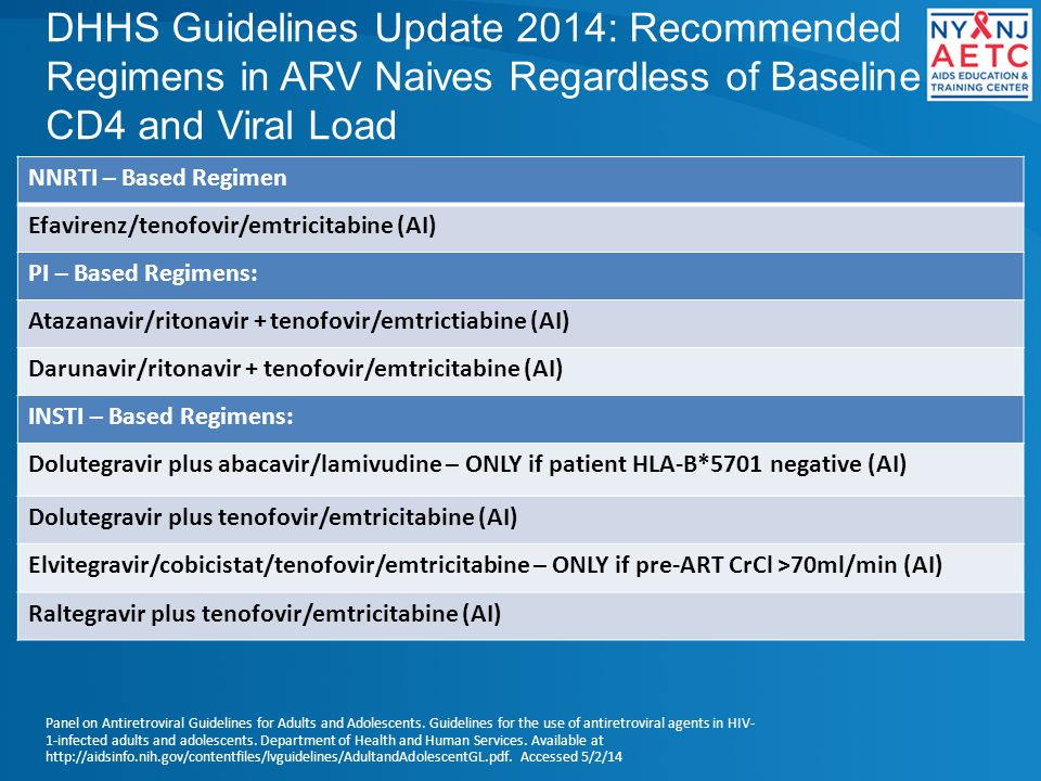 DHHS Guidelines Update 2014: Recommended Regimens in ARV Naives Regardless of Baseline CD4 and Viral Load