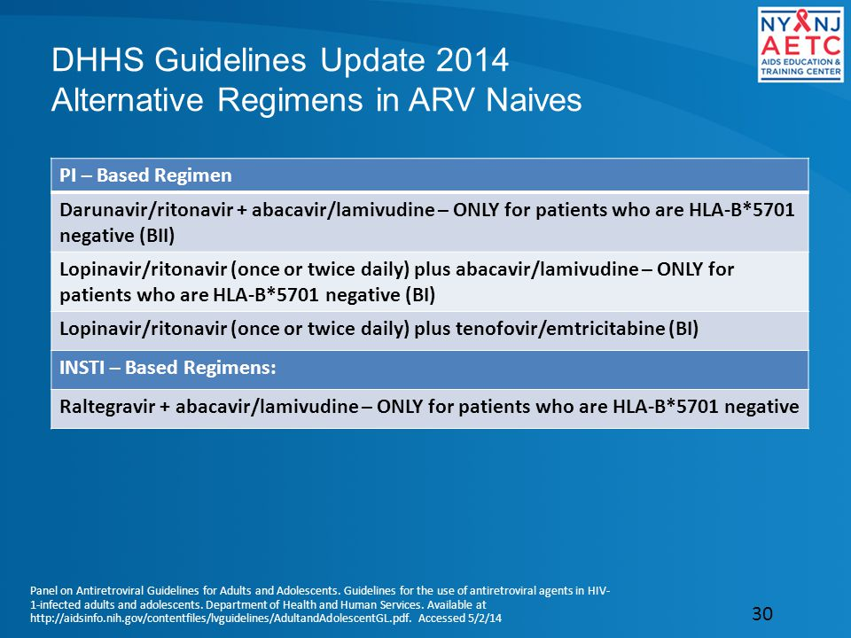 DHHS Guidelines Update 2014 Alternative Regimens in ARV Naives