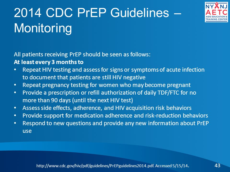 2014 CDC PrEP Guidelines – Monitoring