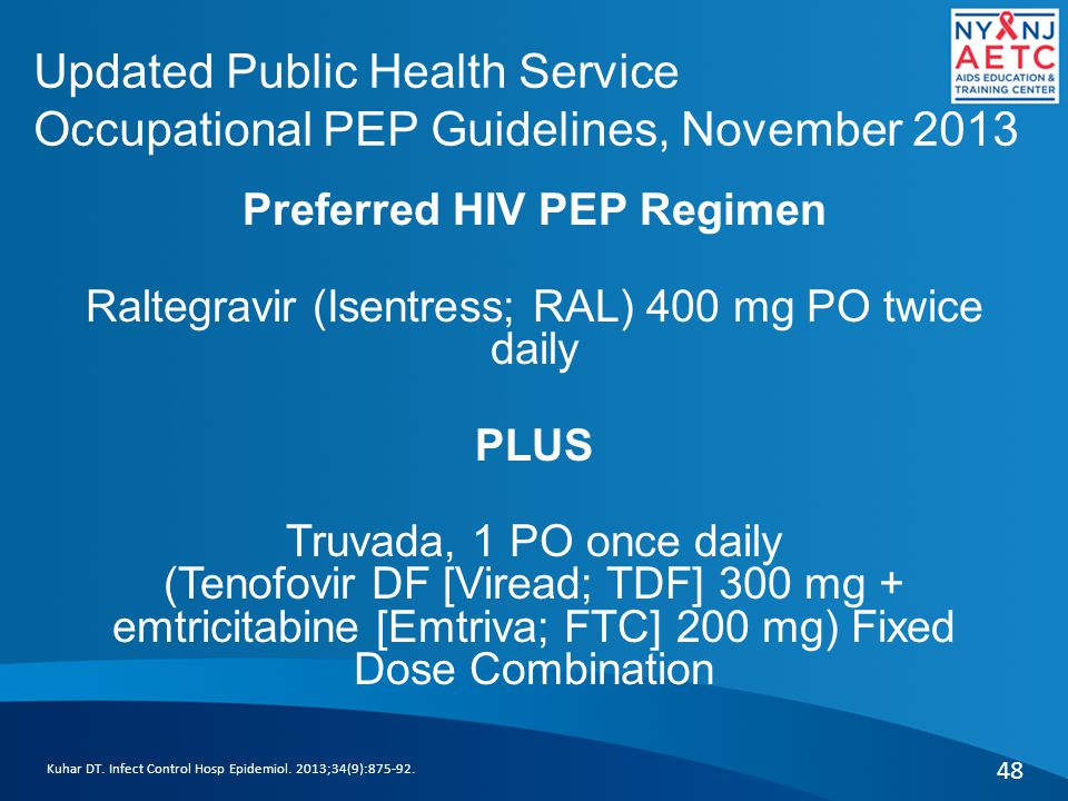Updated Public Health Service Occupational PEP Guidelines, November 2013