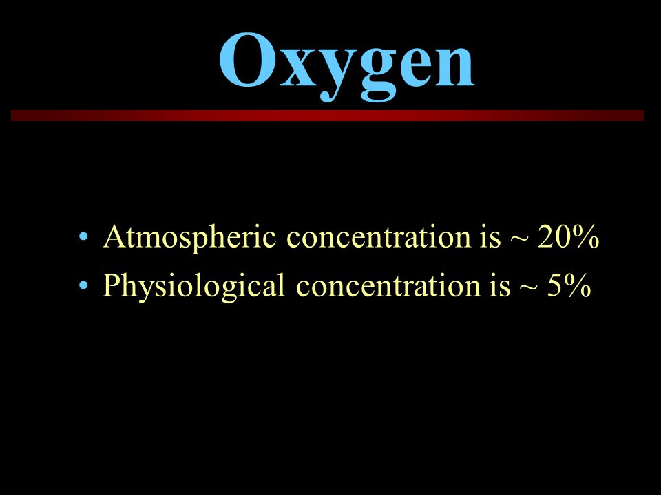 Oxygen Atmospheric concentration is ~ 20%