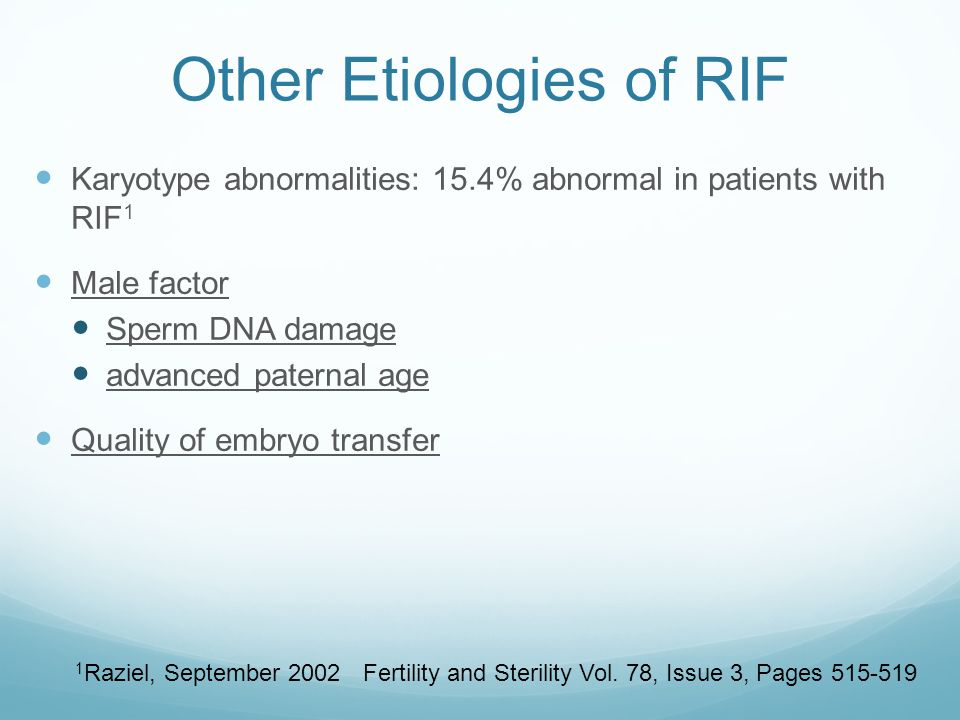 Other Etiologies of RIF
