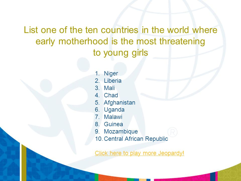 List one of the ten countries in the world where early motherhood is the most threatening to young girls