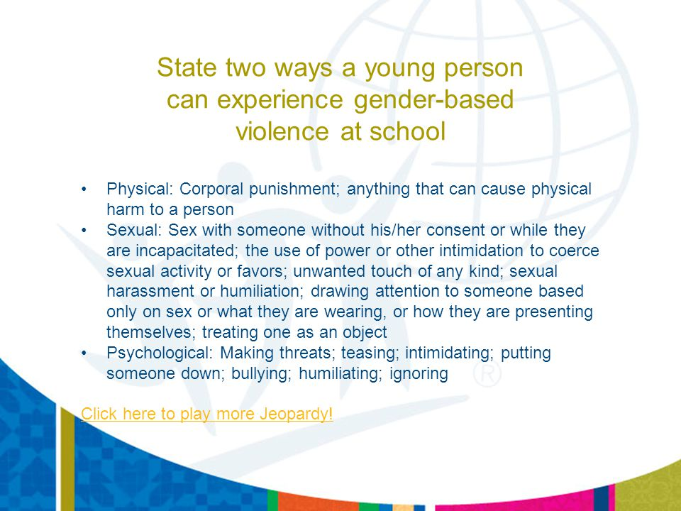 State two ways a young person can experience gender-based violence at school